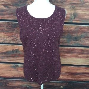 Ellen Tracy cashmere Sequin Knit Sleeveless top L